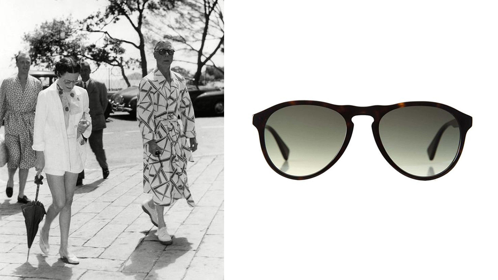 The Duke of Windsor wearing Curry & Paxton in 1953; the new Paul sunglasses, $200.