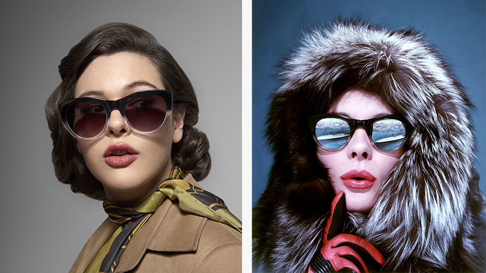 The new 'Grace' frames, $188; an archival pair that featured on the cover of Tatler in 1959.