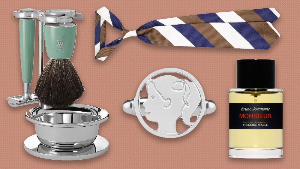 Mühle shaving set, Drake's tie, Frederic Malle perfume, Aurelia Demark cufflink