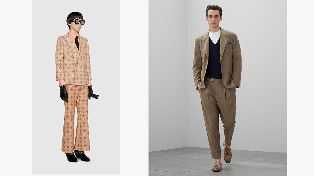 A tan suit from Gucci and one from Brunello Cucinelli.