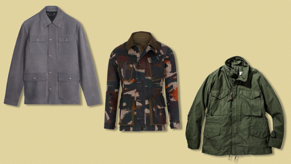 Field jackets from Berluti, The Workers Club and The Real McCoy's
