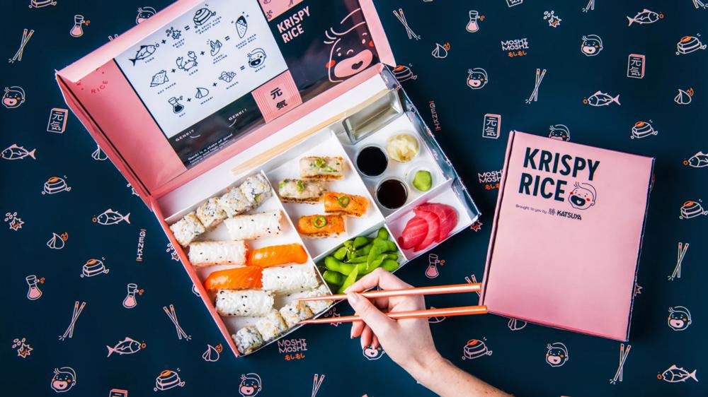 delivery sushi bento box krispy rice
