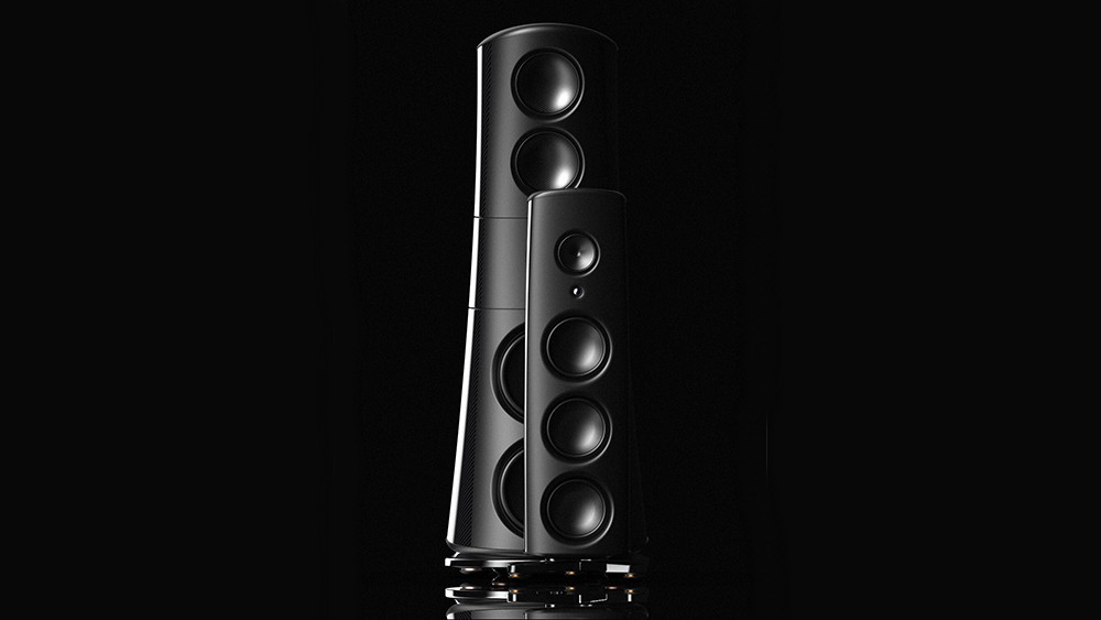 One of Magico's M6 speakers in front of the new M9