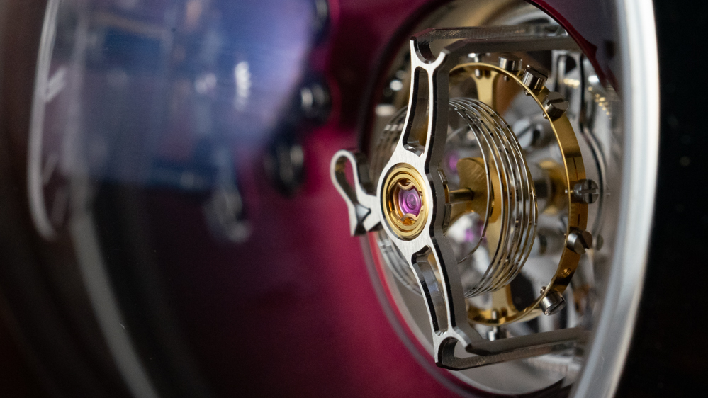 The vertical coil of the balance spring in the H. Moser x MB&F Endeavour Cylindrical Tourbillon results in a more accurate tourbillon.