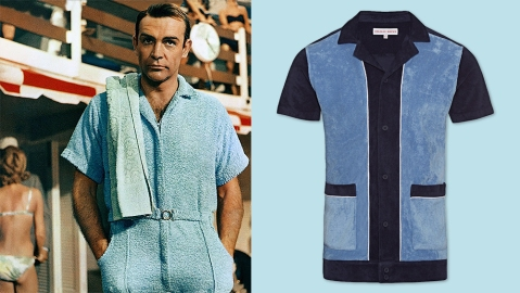 "Sean Connery wearing a terrycloth playsuit in ""Goldfinger"", Orlebar Brown's terrycloth shirt"