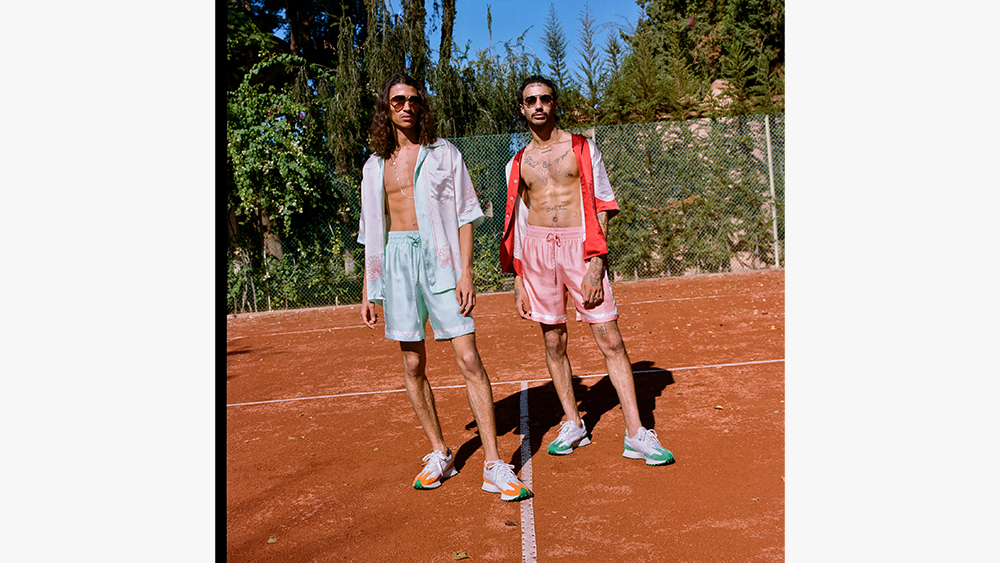 Silk shirts and shorts, worn with the Casablanca x New Balance sneakers.