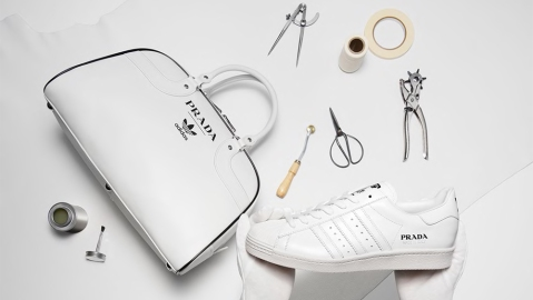 A bag and sneaker from Prada's collaboration with Adidas
