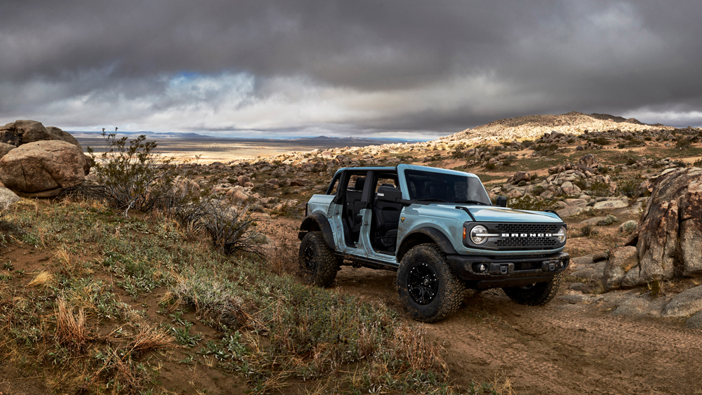 The 2021 Ford Bronco shown without doors.