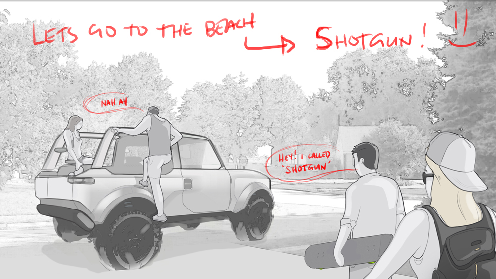 Part of a design storyboard for the 2021 Ford Bronco.