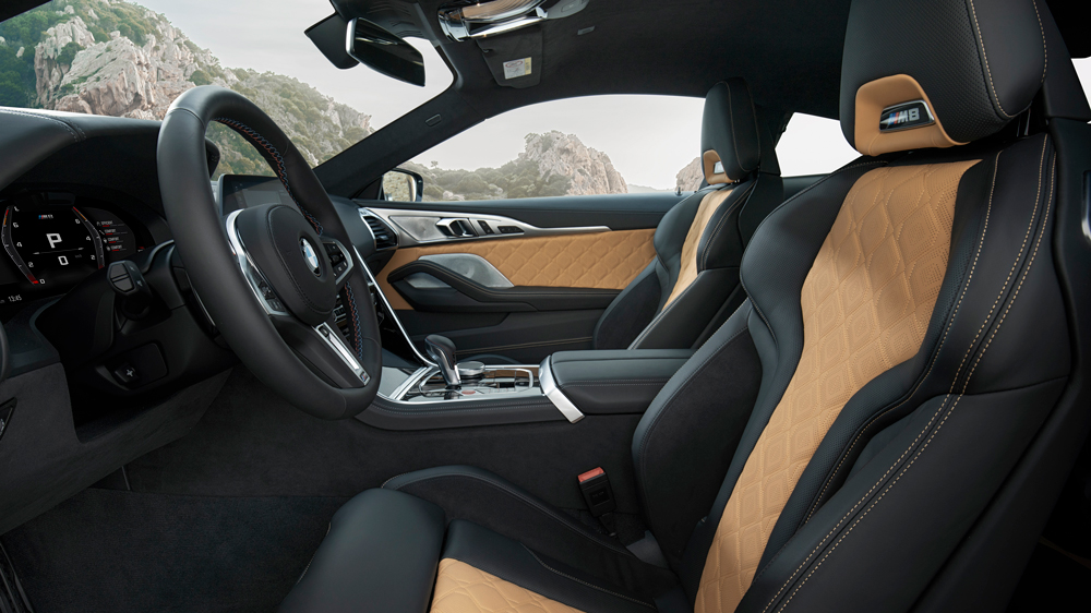Inside the BMW M8 Competition Coupe.