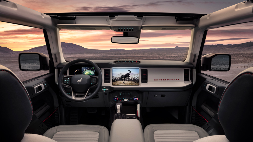 Inside the four-door 2021 Ford Bronco.