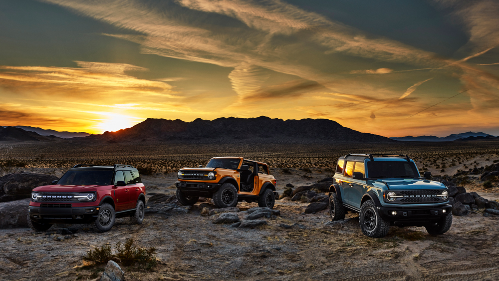 The 2021 Ford Bronco lineup.