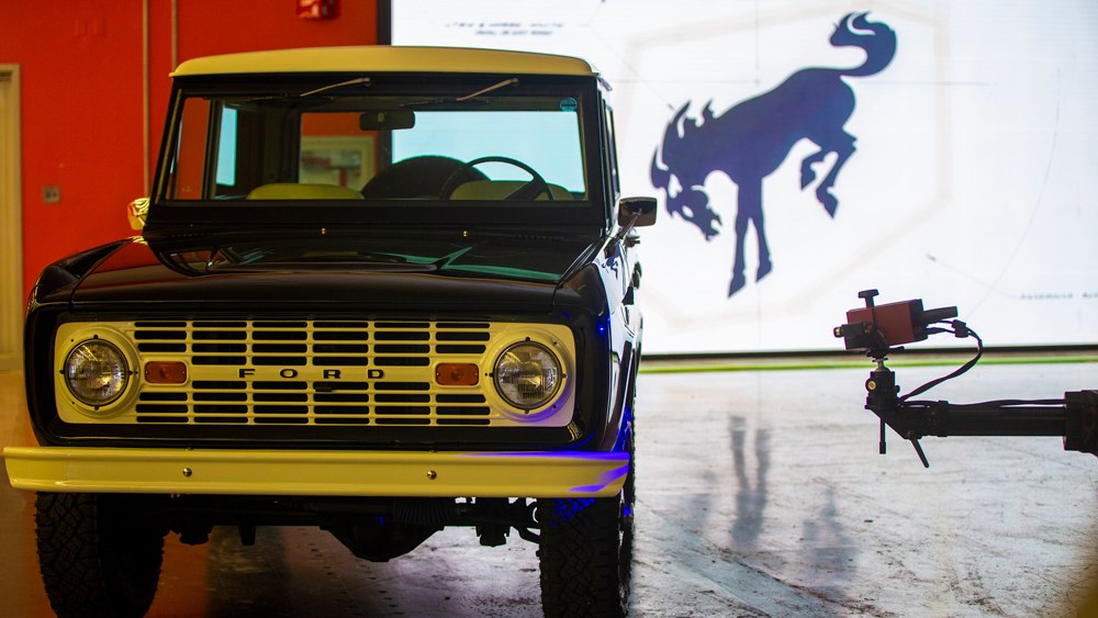 Scanning a 1976 Ford Bronco during the development process for the 2021 model.