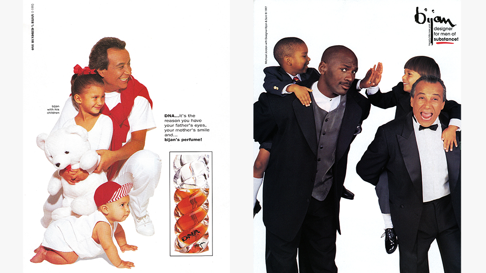 Vintage Bijan ads featuring a young Nicolas with his father (and Michael Jordan).