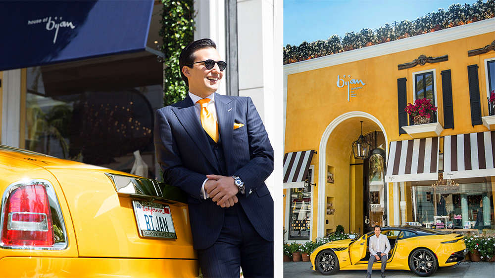 Nicholas Bijan in front of the new store
