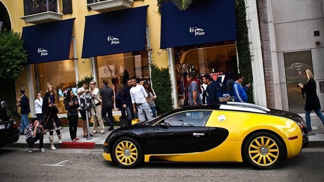 A Bijan-branded Bugatti Veyron outside of its Beverly Hills store.