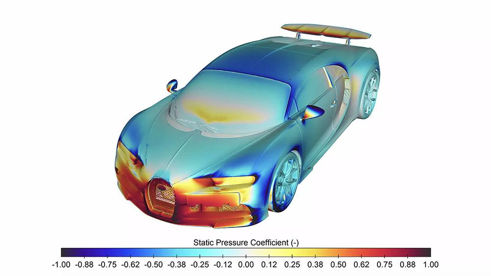 A heat map of a Bugatti Chiron