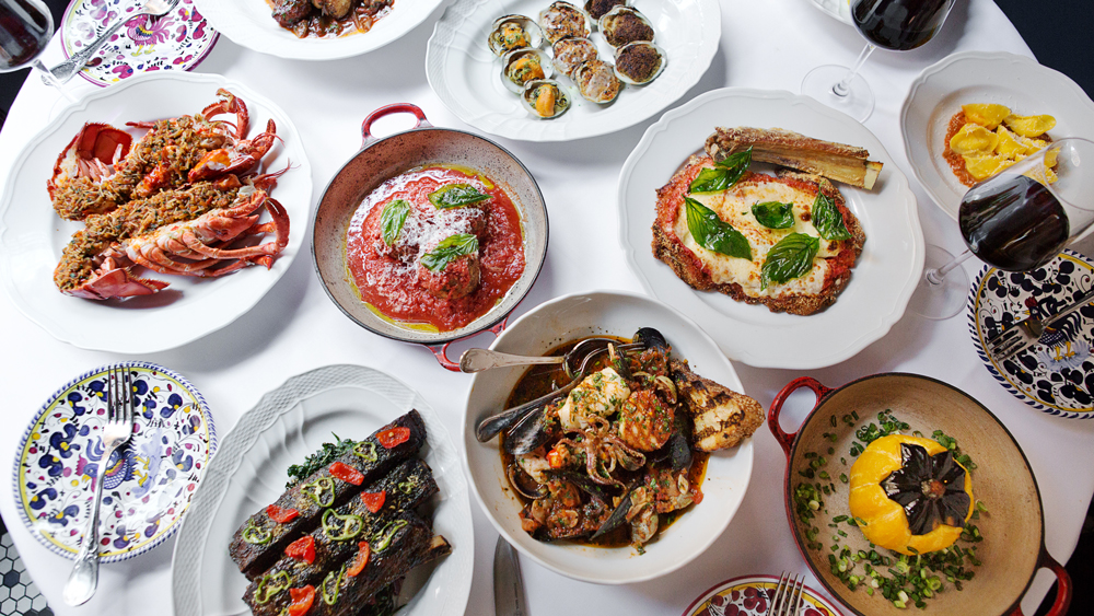 red sauce italian food spread
