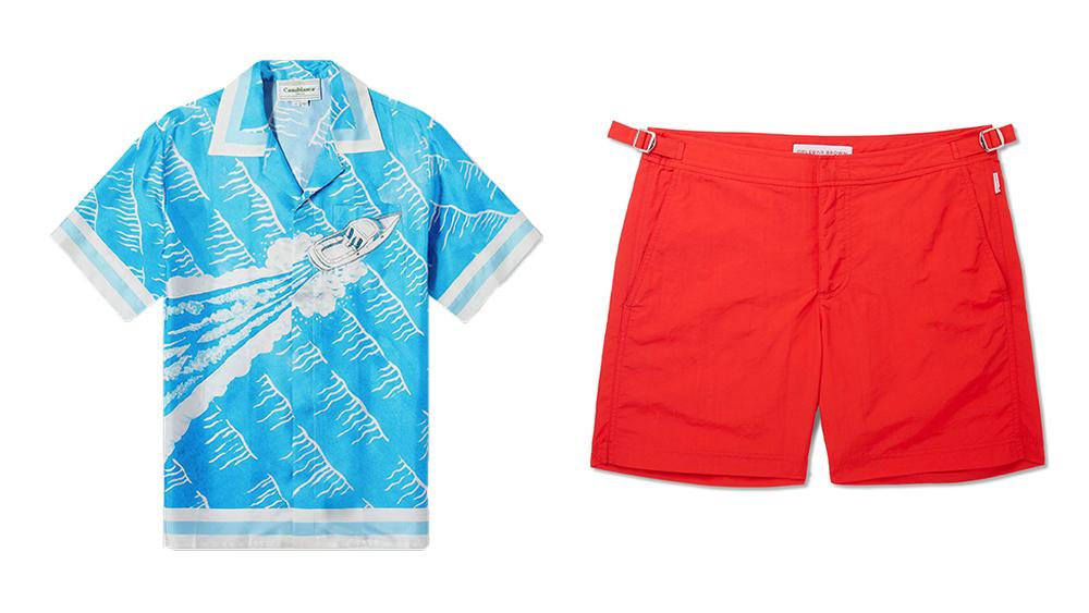 A Casablanca silk shirt and Orlebar Brown 'Bulldog' swim shorts.
