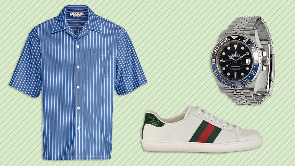 Marni shirt, Gucci sneakers, Rolex watch