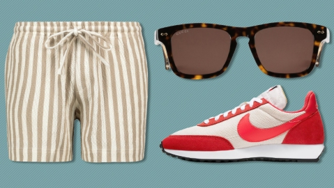 Commas swim trunks, Gucci sunglasses, Nike sneakers