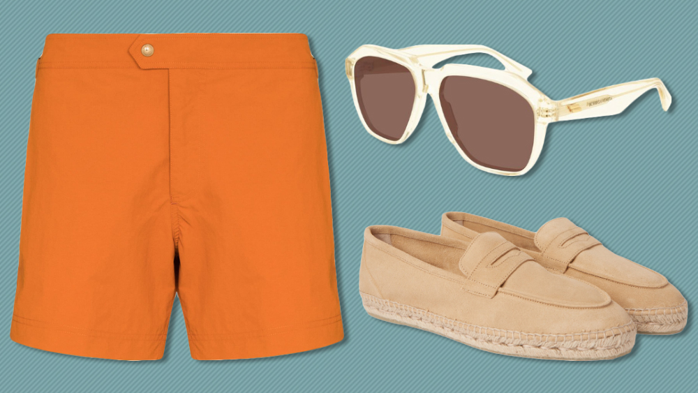 Tom Ford swim shorts, Bottega Veneta sunglasses, Castaner espadrilles