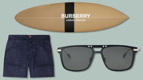 Birdwell shorts, Burberry surfboard, Rimowa sunglasses