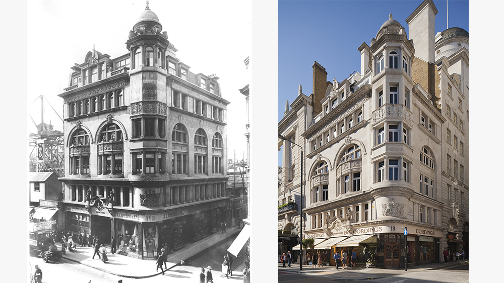 Cordings' storefront circa 1906 and today.