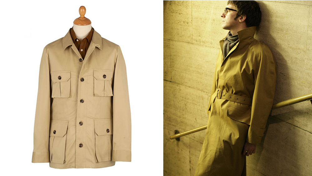 Cordings' safari jacket and classic mackintosh coat.
