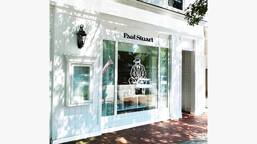 The storefront of Paul Stuart's new Southampton shop.