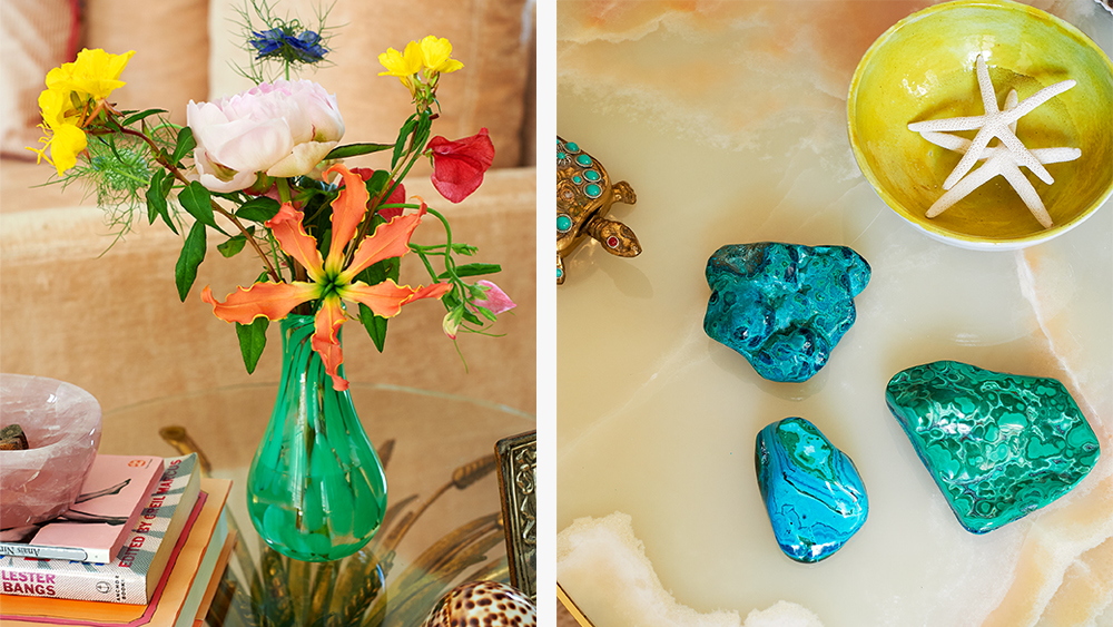 A vase, turquoise and malachite paperweights from the new collection.