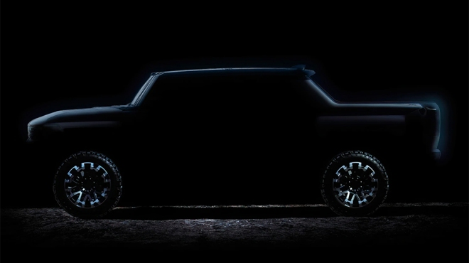 The profile of the new Hummer truck