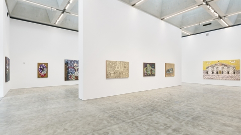 """Installation view of """"William N. Copley: The New York Years,"""" 2020, at Kasmin, New York."""