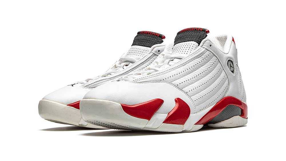 "Lot 11 is a pair of ""Chicago"" Air Jordan 14 sneakers that can be seen in The Last Dance."