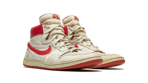 The top lot, a pair of Air Ship sneakers from 1984.