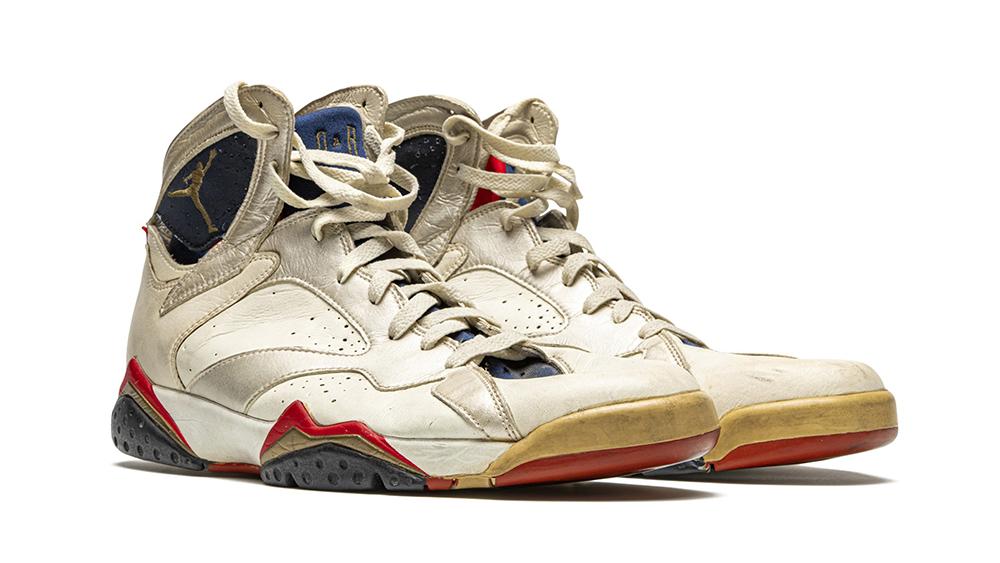 "The Air Jordan 7 ""Olympic"" sneakers worn in a 1992 game against Croatia."