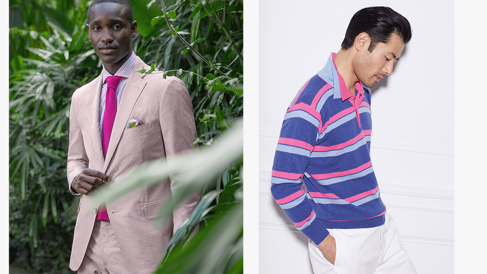 A seersucker suit ($1,377) and cashmere polo ($TK) from Paul Stuart's spring collection.