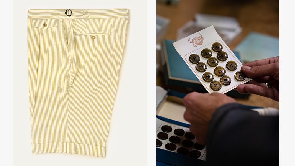PML seersucker shorts, a selection of buttons.