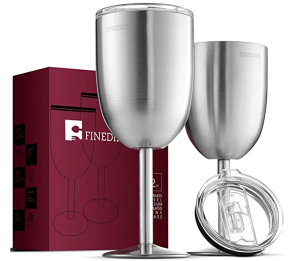 FineDine Stainless-Steel Wine Glasses