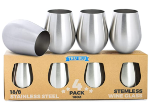 Tru Blu Steel Stainless Steel Wine Glasses
