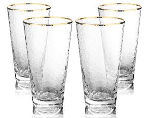 MyGift Hammered Highball Glasses