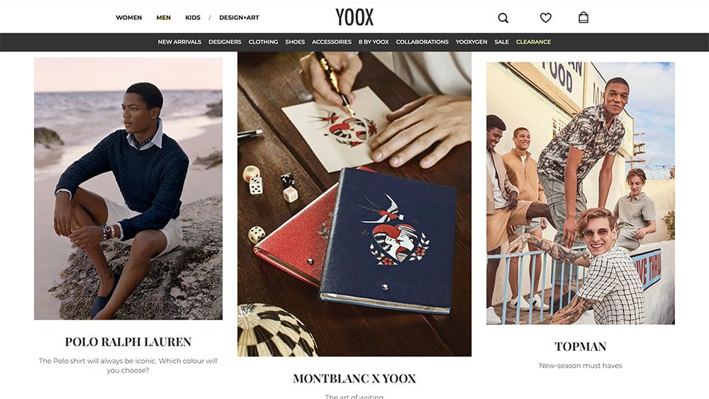 Yoox's homepage