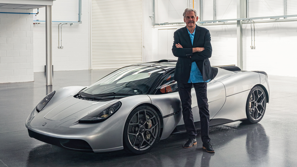 Gordon Murray Automotive's T.50 hypercar and car designer Gordon Murray.