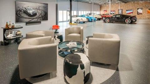 A custom car garage designed by Florida-based DawnElise Interiors International.