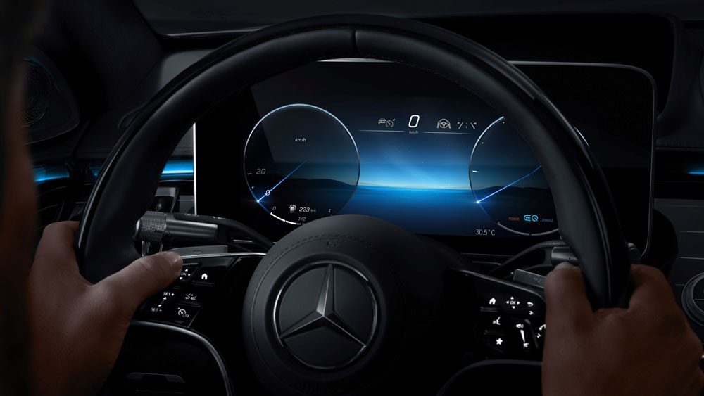 Mercedes-Benz teases its next-gen MBUX infotainment system in the new S-Class.