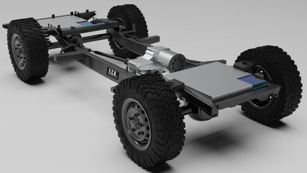 The platform for E.C.D. Automotive Design's E-Lander electric Defender restomod.