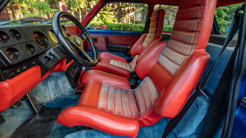 The interior of a 1981 Renault R5 Turbo.