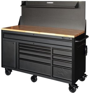 HuskyTools Mobile Workbench With Pegboard