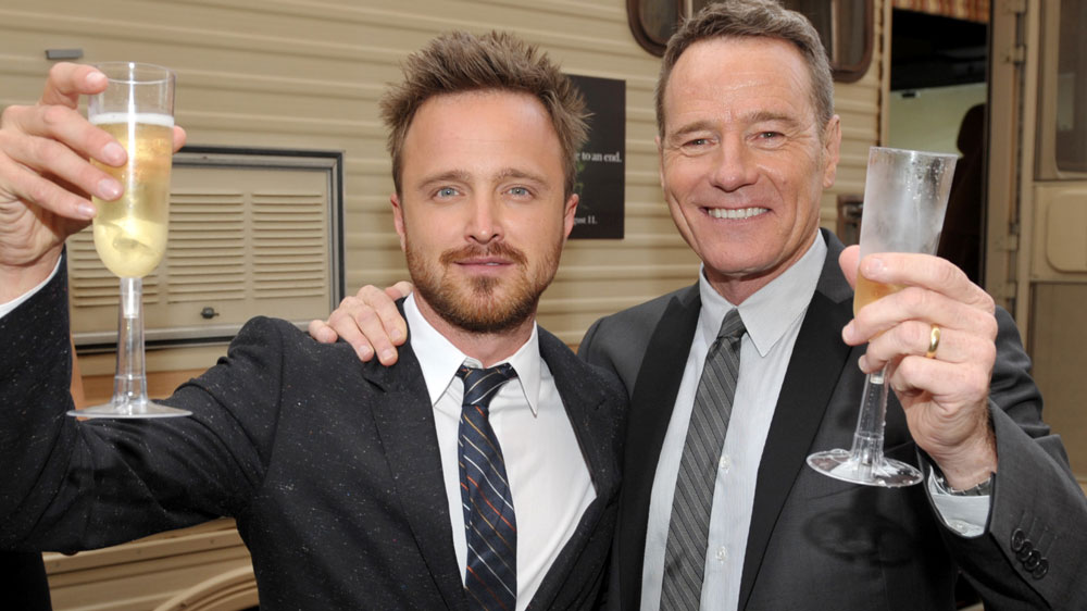 """Aaron Paul and Bryan Cranston attend celebration for final episodes of """"Breaking Bad"""" on July 24, 2013."""