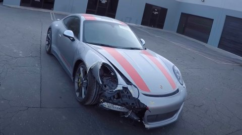 The wrecked 2016 Porsche 911 GTS R3